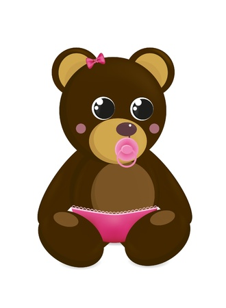 teat: Baby-bear in pants with baby Illustration