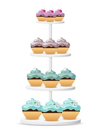 Cupcakes on a white stand Vector