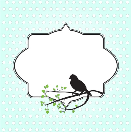 Frame for text with bird and tree branch Vector