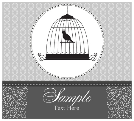 Frame for text with birdcage and bird Vector