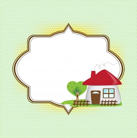 cartoon frame: Cornice di testo con casa carino