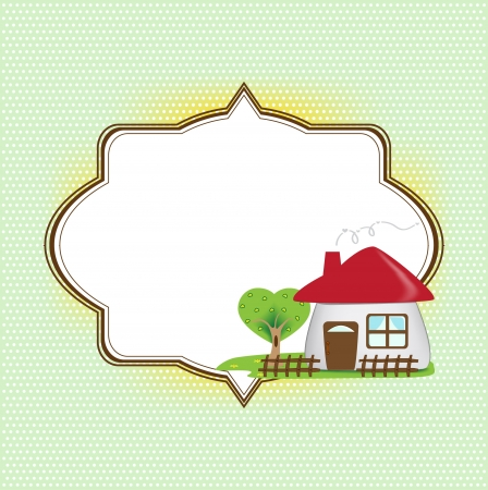 yellow house: Frame for text with cute house