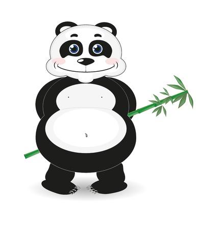 bamboo stick: Panda with bamboo stick Illustration