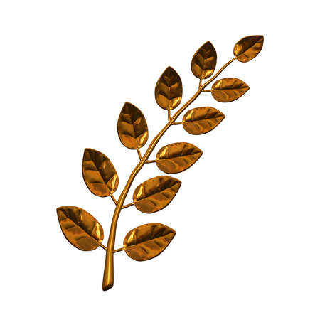 laurel branch: Golden laurel branch, isolated on white background
