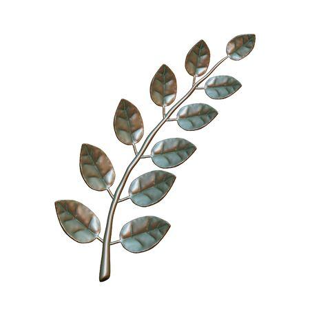 laurel branch: Copper laurel branch, isolated on white background