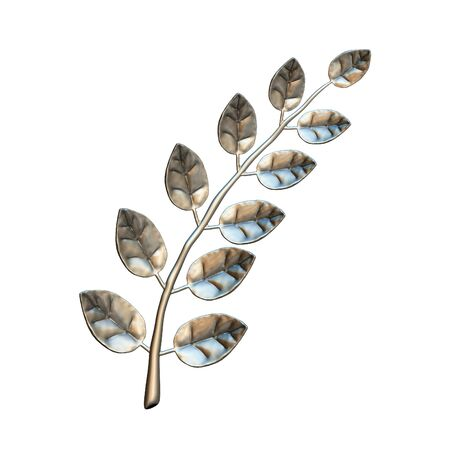 laurel branch: Silver laurel branch, isolated on white background Stock Photo