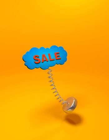 Red inscription Sale in the form of a blue cloud with a spring on an orange background width shadow. 写真素材