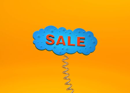 Red inscription Sale in the form of a blue cloud with a spring on an orange background.