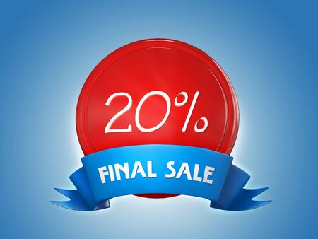Red badge with a blue ribbon and the words - Final sale, 20 percent on a blue background. 3d render