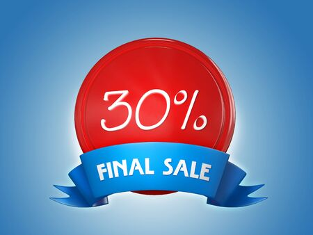 Red badge with a blue ribbon and the words - Final sale, 30 percent on a blue background. 3d render