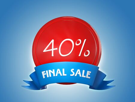 Red badge with a blue ribbon and the words - Final sale, 40 percent on a blue background. 3d render Archivio Fotografico - 129795179