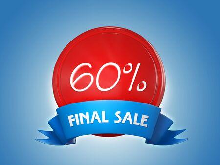 Ribbon badge - 60 percent, final sale. 3d render