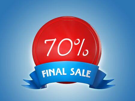 Ribbon badge - 70 percent, final sale. 3d render Banco de Imagens