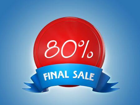 Ribbon badge - 80 percent, final sale. 3d render Archivio Fotografico - 129795185