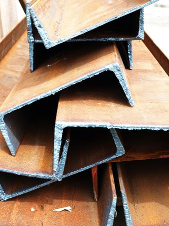 joists: durable joists from steel closeup just cut on ground Stock Photo