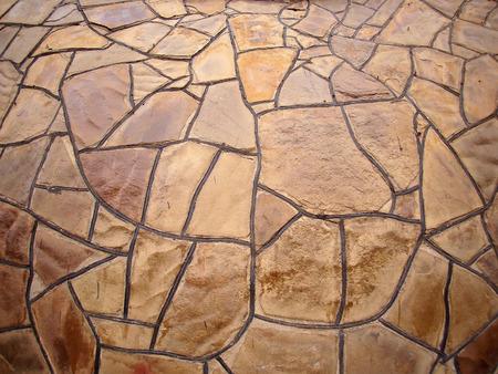 ''wide angle'': Decorative stone wall brown with wide angle fisheye view