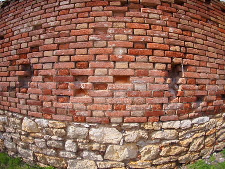 ''wide angle'': Brown brick wall  with wide angle fisheye view