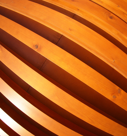 ''wide angle'': Red wall made of wooden boards with wide angle fisheye lens view