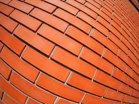 ''wide angle'': New red brick wall with distortion lens and wide angle fisheye view