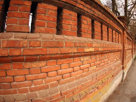 ''wide angle'': Stone wall of the old brick with wide angle view Stock Photo