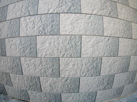 fisheye: Fragment of decorative wall with wide angle fisheye lens view Stock Photo