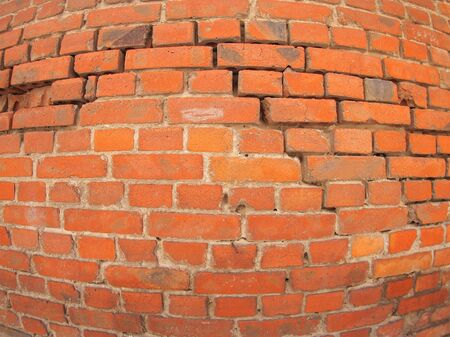 fisheye: Red old rough brick wall with wide angle fisheye lens view close up Stock Photo