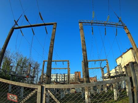 fisheye: Russian power station  with wide angle fisheye lens view