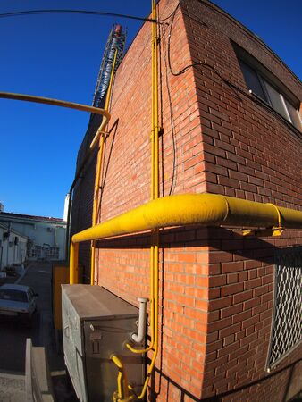 boiler house: Boiler house with a gas pipe with wide angle distortion view
