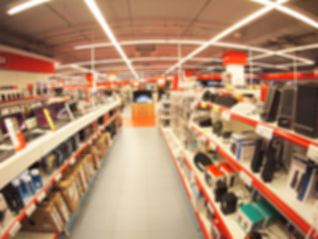 Defocused and blurry image of the store computer equipment and accessories with wide angle fisheye lens and distortion view