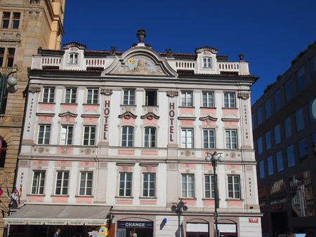 praha: Prague, Czech Republic - April 21, 2015: Facade of the Hotel Inn at Praha 1-Stare Mesto photographed sunny cloudless day Editorial
