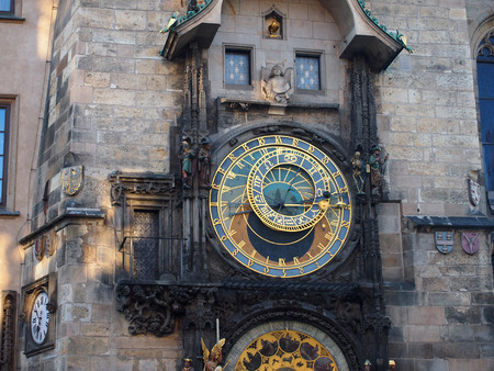 stare mesto: PRAGUE, CZECH REPUBLIC - APRIL 19, 2015: The clock on the tower close-up on the main square of Stare Mesto