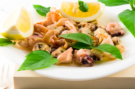 blanch: Salad of blanched seafood on a white plate. Mussels, squid and octopus, decorated with greens and lemon. Stock Photo