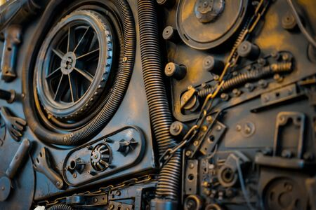 wallpaper copper gold golden: Stylized of a steampunk mechanical Stock Photo
