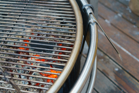 gas fireplace: barbecue grill and hot coal Stock Photo