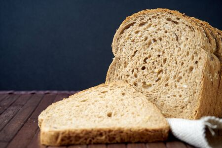 the bread on black background