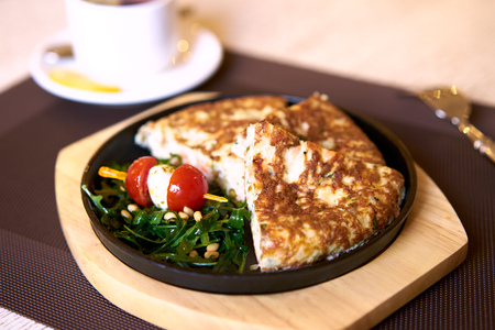 fish omelet with arugula