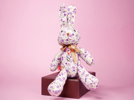 plush Bunny on a pink background