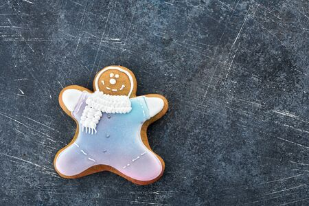 gingerbread man on a dark background