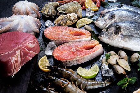 Sea food on a black background