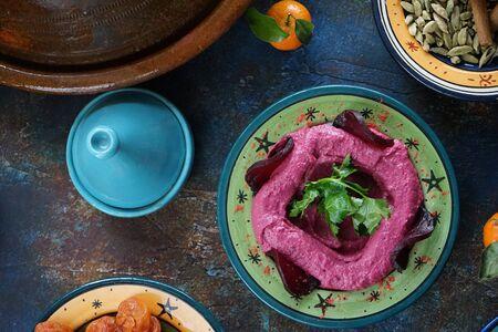 Eastern food beet salad in a beautiful salad bowl