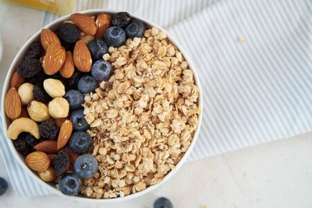 Mixed muesli with nuts and berries