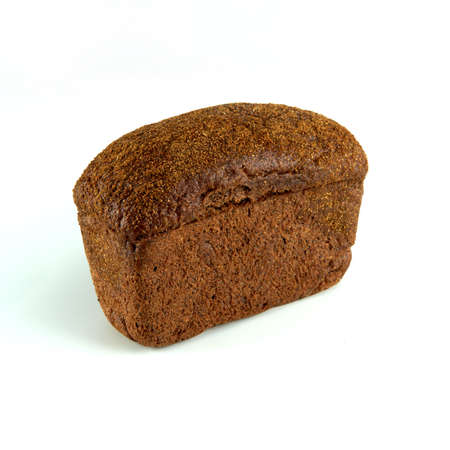 black bread on a white background