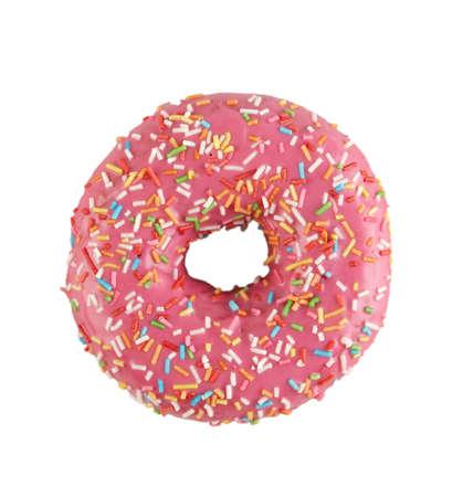 appetizing donut with pink glaze