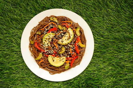 Brown buckwheat pasta with vegetables carrots paprika zucchini sesame seeds in a white plate on the grass
