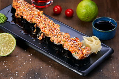 Japanese seafood Oriental food sushi rolls