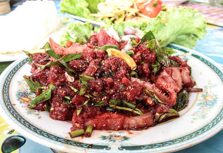 raw beef: Spicy raw beef