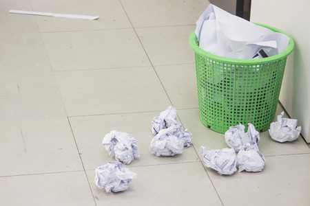 scrunched: Full Trash paper fall Stock Photo
