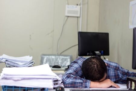 A man working hard burn out syndrome