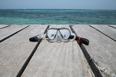 Mask and Snorkel Set on a deck in the beach Rosario Islands Colombia Publikacyjne
