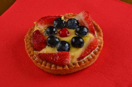 fresh red fruit pie in restaurant